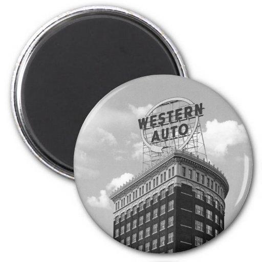 Western Auto Half Cylinder Building Refrigerator Magnets