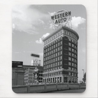 Western Auto Half Cylinder Building Mouse Pad