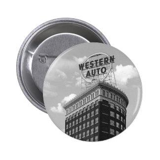 Western Auto Half Cylinder Building Pinback Button