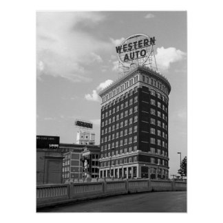 Western Auto Half Cylinder Building Poster