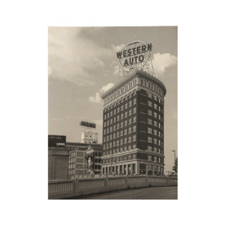 Western Auto Half Round Building Wood Poster