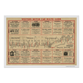 Western Auto Route Map 1915 Poster