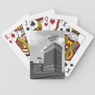 Western Auto Sign Architecture Black & White Photo Playing Cards