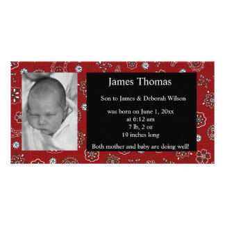 Western Baby Birth Announcement Photo Card Template