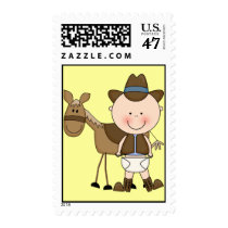 Western Baby Boy and Cow Pony - Shower or Party Postage
