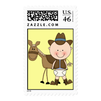 Western Baby Boy and Cow Pony - Shower or Party Postage Stamps