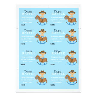 Western Baby Boy Diaper Raffle Card