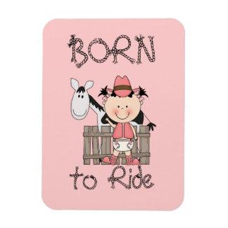 Western Baby Girl B/W Cow Pony Rectangular Photo Magnet