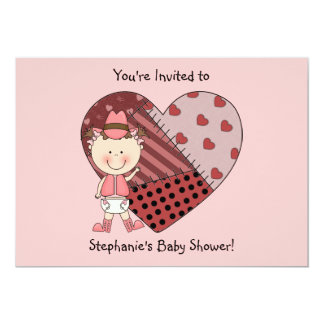 Western Baby Girl & Patchwork Heart - Shower Party Personalized Invitation