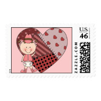 Western Baby Girl & Patchwork Heart - Shower Party Stamp