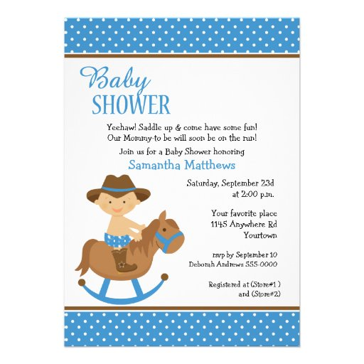Personalized Western baby shower theme Invitations