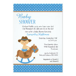 Western Baby on Rocking Horse Baby Shower 5x7 Paper Invitation Card