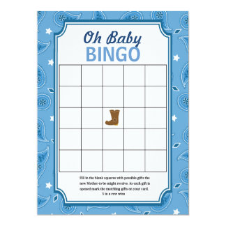 Western Baby Shower Bingo and Word Scramble Games Card