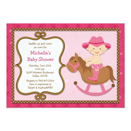Western Baby Shower Invitation Cowgirl