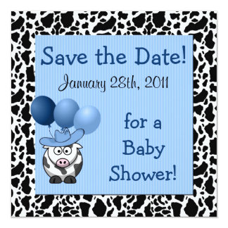 Western Baby Shower Save the Date Blue Card