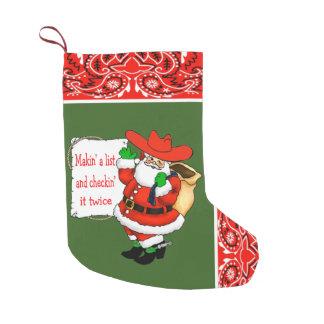Western Bandana And Cowboy Santa Makin' A List Small Christmas Stocking