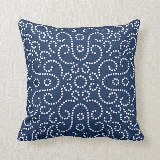 Western Bandana Dot Pattern Navy Throw Pillow