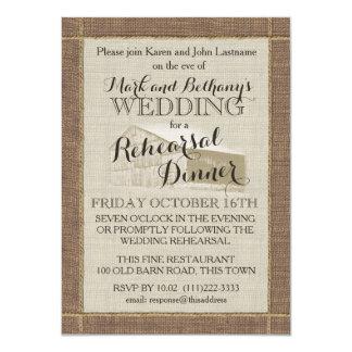 Western Barn and Burlap Rehearsal Dinner Card