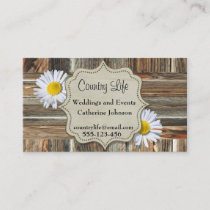 Western Barn Wood And Daises Business Cards