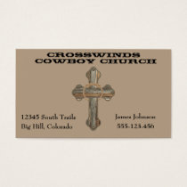 Western Barn Wood Cross With Rope Business Card