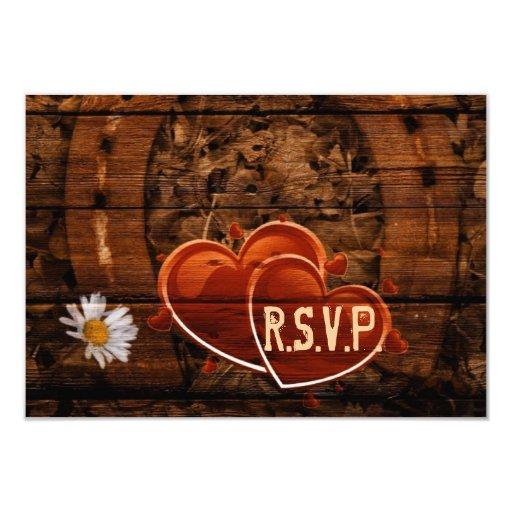 Western Barn Wood Horseshoe Wedding RSVP response Card