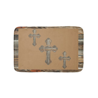 Western Barnwood Cross With Ropes And Conchos Bathroom Mat
