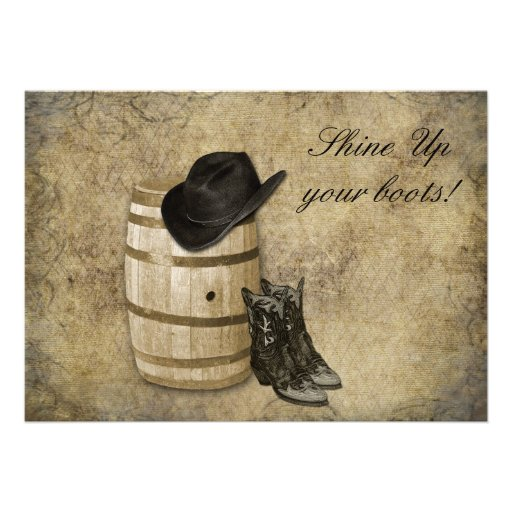 Western Barrel And Boots Cowboy Wedding Invitation