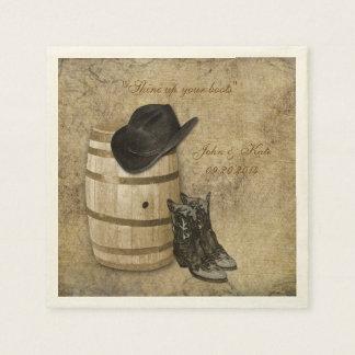 Western Barrel and Boots Wedding Napkins