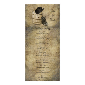 Western Barrel and Boots Wedding Program