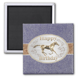 Western Belt And Buckle On denim Happy Birthday 2 Inch Square Magnet
