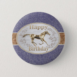 Western Belt And Buckle On Denim Happy Birthday Button