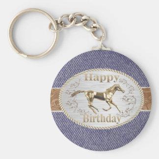 Western Belt And Buckle On Denim Happy Birthday Keychain