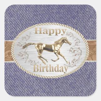Western Belt And Buckle On Denim Happy Birthday Square Sticker