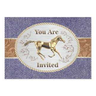 Western Belt And Buckle On Denim Your Are Invited Card