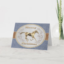 Western Belt Buckle Gold Horse Merry Christmas Holiday Card