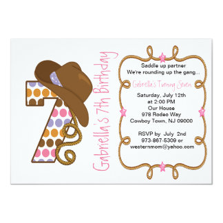 Western Big Seven Girl Birthday Invitation
