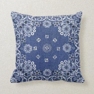 Western Blue Bandana Throw Pillows