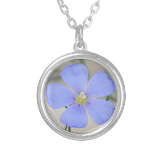 Western Blue Flax Blossom Silver Plated Necklace