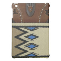 "Western ""Blue Horse Blanket & Leather"" IPad Case"