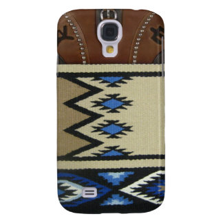 """Western """"Blue Horse Blanket & Leather"""" IPhone 3 Samsung Galaxy S4 Covers"""