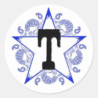 """Western Blue """"T"""" Monogram Sticker"""