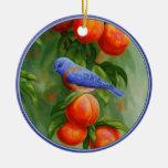 Western Bluebird and Ripe Peaches Ceramic Ornament