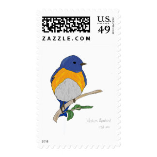Western Bluebird postage stamp