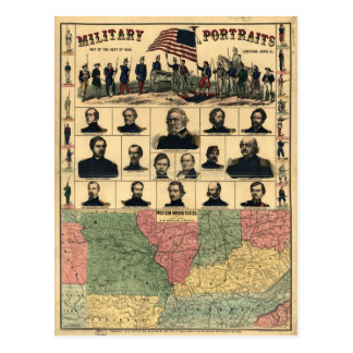 Western Boarder States Military Portraits (1861) Postcard