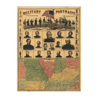 Western Boarder States Military Portraits (1861) Wood Wall Art