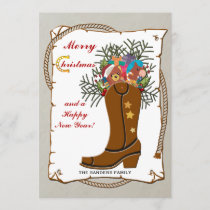 Western Boot Christmas Card