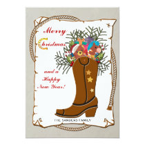 Western Boot Christmas Card