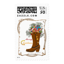Western Boot Christmas Postage Stamp