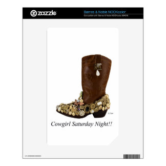 Western Boot Cowgirl Saturday Night Dance Skin For The NOOK Color