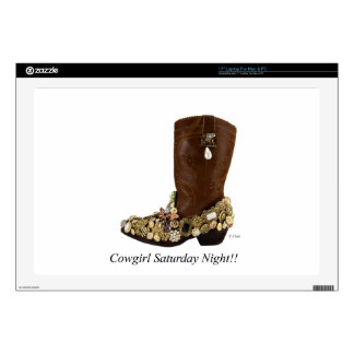 Western Boot Cowgirl Saturday Night Dance Laptop Decal